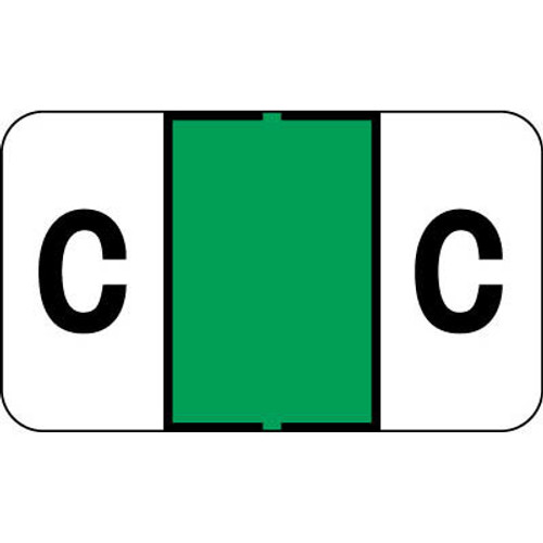 """Control-O Fax Alpha Label System - Letter 'C' - GREEN - 15/16"""" H x 1-5/8"""" W - Sheets for File Box - 225 Labels Per Pack"""