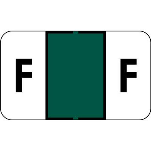 """Control-O Fax Alpha Label System - Letter 'F' - Green - 15/16"""" H x 1-5/8"""" W - Sheets for File Box - 225 Labels Per Pack"""