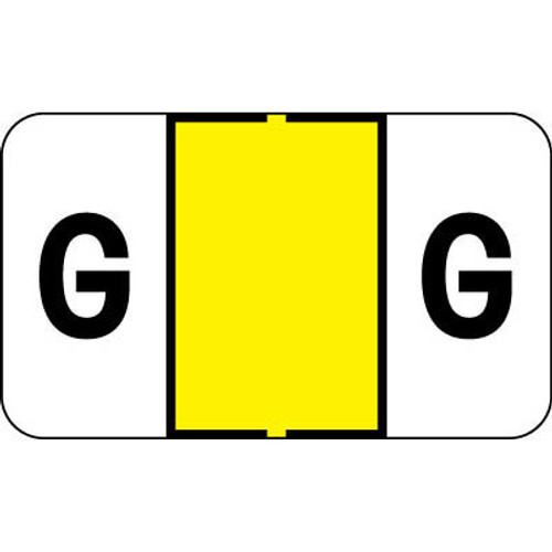 """Control-O Fax Alpha Label System - Letter 'G' - Yellow - 15/16"""" H x 1-5/8"""" W - Sheets for File Box - 225 Labels Per Pack"""