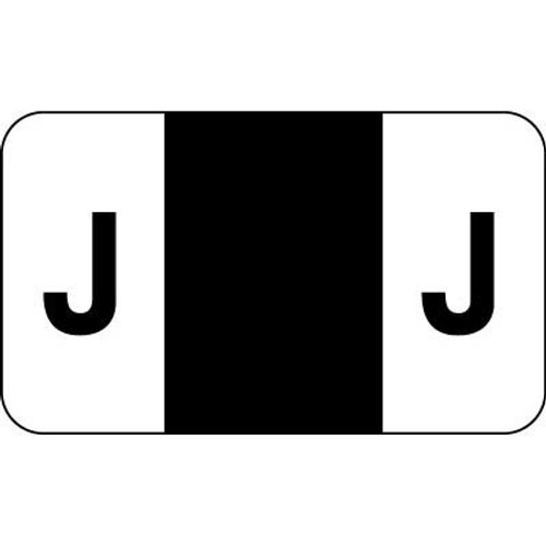 """Control-O Fax Alpha Label System - Letter 'J' - Black - 15/16"""" H x 1-5/8"""" W - Sheets for File Box - 225 Labels Per Pack"""