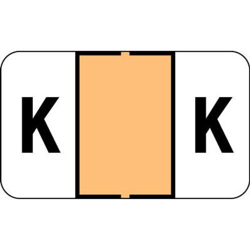 "Control-O Fax Alpha Label System - Letter 'K' - Light Orange - 15/16"" H x 1-5/8"" W - Sheets for File Box - 225 Labels Per Pack"