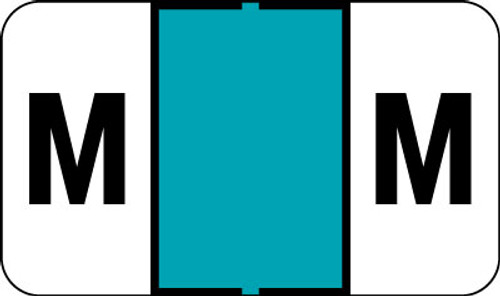 """Control-O Fax Alpha Label System - Letter 'M' - Turquoise - 15/16"""" H x 1-5/8"""" W - Sheets for File Box - 225 Labels Per Pack"""
