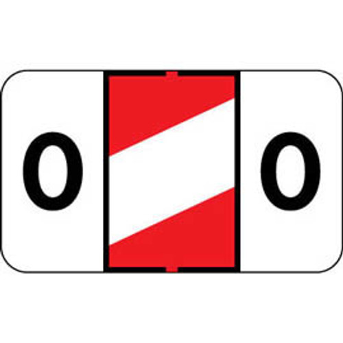"""Control-O Fax Alpha Label System - Letter 'O' - RED w/ White stripe - 15/16"""" H x 1-5/8"""" W - Sheets for File Box - 225 Labels Per Pack"""