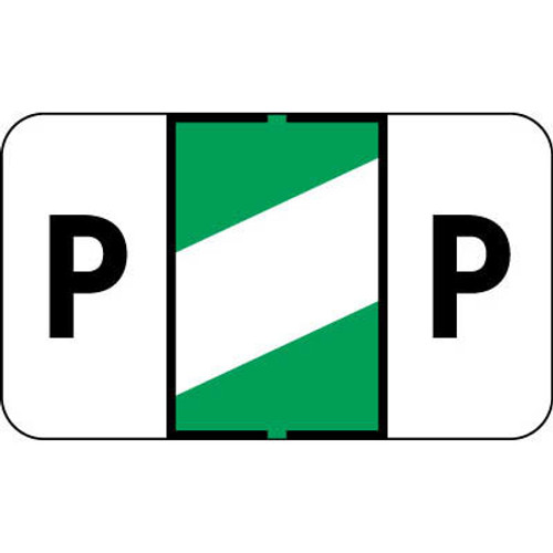 """Control-O Fax Alpha Label System - Letter 'P' - Green with White Stripe - 15/16"""" H x 1-5/8"""" W - Sheets for File Box - 225 Labels Per Pack"""