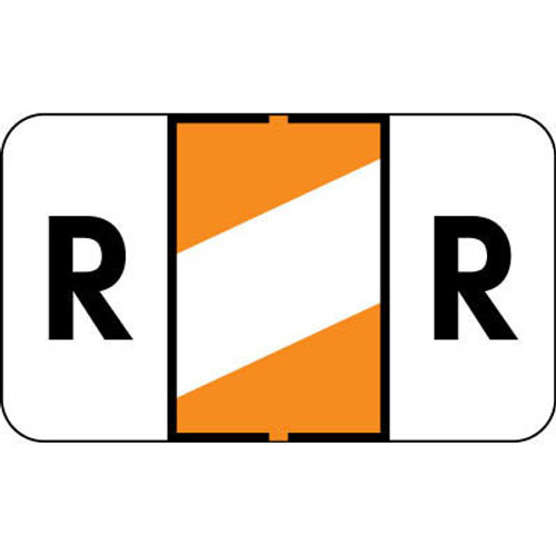 """Control-O Fax Alpha Label System - Letter 'R' - Orange with White Stripe - 15/16"""" H x 1-5/8"""" W - Sheets for File Box - 225 Labels Per Pack"""