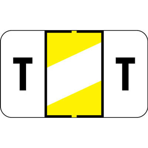 """Control-O Fax Alpha Label System - Letter 'T' - YELLOW w/ White stripe - 15/16"""" H x 1-5/8"""" W - Sheets for File Box - 225 Labels Per Pack"""