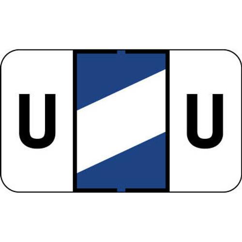 "Control-O Fax Alpha Label System - Letter 'U' - DARK BLUE w/ White stripe - 15/16"" H x 1-5/8"" W - Sheets for File Box - 225 Labels Per Pack"