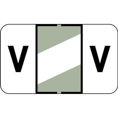 """Control-O Fax Alpha Label System - Letter 'V' - Gray w/ White stripe - 15/16"""" H x 1-5/8"""" W - Sheets for File Box - 225 Labels Per Pack"""