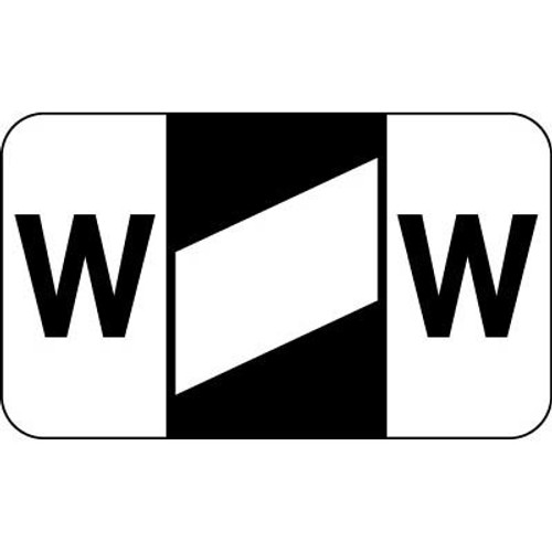 """Control-O Fax Alpha Label System - Letter 'W' - Black with White Stripe - 15/16"""" H x 1-5/8"""" W - Sheets for File Box - 225 Labels Per Pack"""