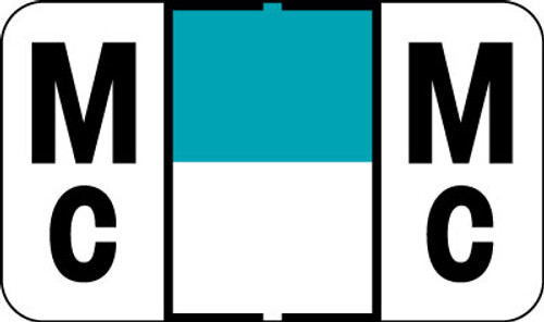 """Control-O Fax Alpha Label System - Letter 'Mc' - Turquoise w/ White stripe - 15/16"""" H x 1-5/8"""" W - Sheets for File Box - 225 Labels Per Pack, 9 labels per sheet"""