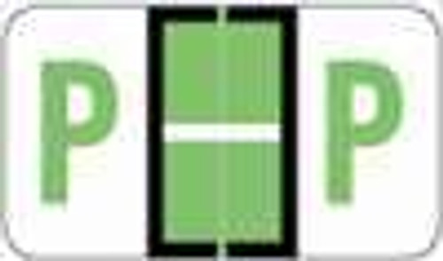 "POS 3400 Series (Sheets) - Letter P - Lt. Green - 15/16"" H x 1-5/8"" W - 225/Pack"