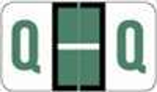 "POS 3400 Series (Sheets) - Letter Q - Dk. Green - 15/16"" H x 1-5/8"" W - 225/Pack"