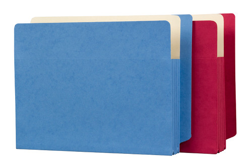 "Expansion Pockets - Colored Reinforced Full Side Tab Pockets - 6-1/2"" H reinforced gusset - 9-1/2"" x 12-1/2"" with 3-1/2"" Paper Expansion -100/Carton (2 carton minimum)"