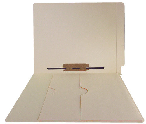 End Tab Folder with Double Pockets - 14 Pt. Manila - 2 Ply Tab - Fastener in Position 5 - Letter Size - Box of 50 - MADE TO ORDER ITEM