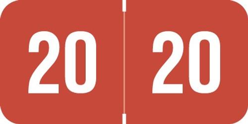 Reynolds & Reynolds 2020 Yearband Label (Rolls of 500) - Red - RRYM Series - Vinyl - Laminated