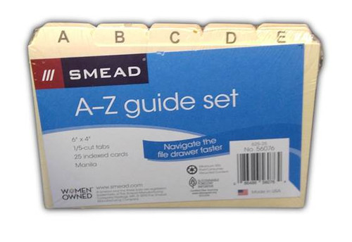 Alpha Index Divider Set for Label Box (box not included) - A-Z - Manila - 1 Set