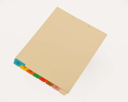 Medical Chart Divider Sets, Medical Pre-Printed Tabs, 8 Bottom Tabs, 1/8th cut - 50 Sets of 8 Tabs