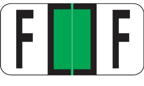 "Reynolds and Reynolds Alphabetic Labels -F - Green - 500/Roll- 3/4""H X 1-1/2""W"""