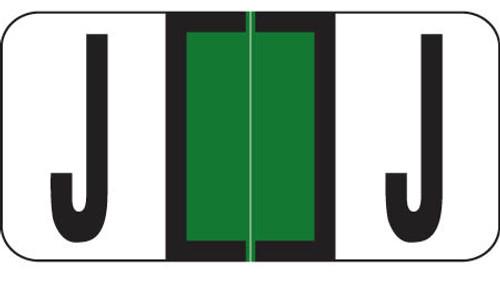 "Reynolds and Reynolds Alphabetic Labels -J - Dk Green - 500/Roll- 3/4""H X 1-1/2""W"""