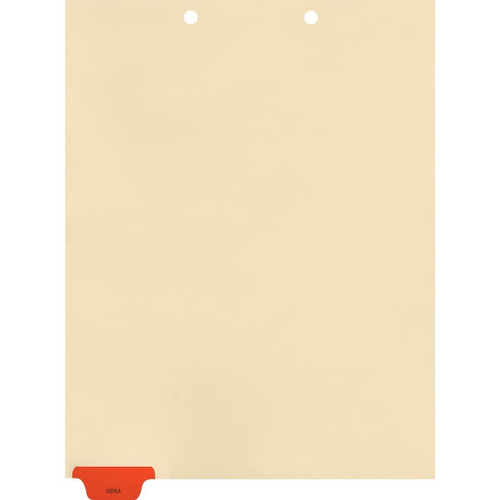 "Medical Arts Press Match Colored Bottom Tab Chart Dividers- ""HIPAA"" - Red Tab in Position 1 - 100/Pack"