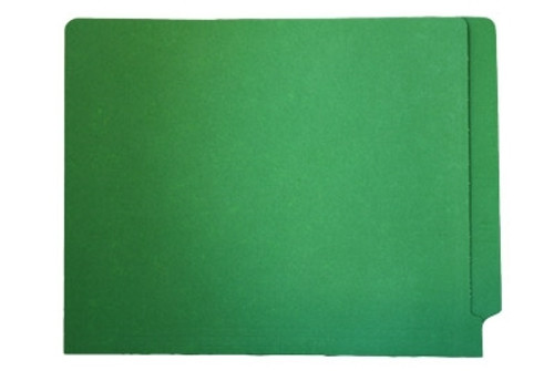 Green End Tab File Folder w/ Fastener in Position 5 - Letter Size - 11 pt - Reinforced Full End Tab  - 100/Box