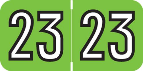 "Amerifile Yearband Label (Rolls of 500) - 2023- Green - ARYM Series - Laminated -3/4"" H x 1-1/2"" W"