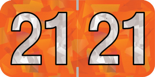 "Holographic Yearband Label (Rolls) 500 - 2021 - Orange - HOYM Series - Polylaminated -3/4"" H x 1-1/2"" W"