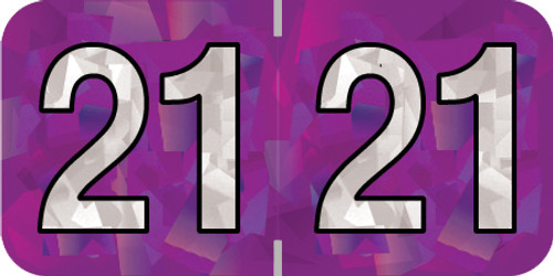 """Holographic 2021 PURPLE YEAR LABEL - 3/4"""" H x 1-1/2"""" W - 500/Roll"""
