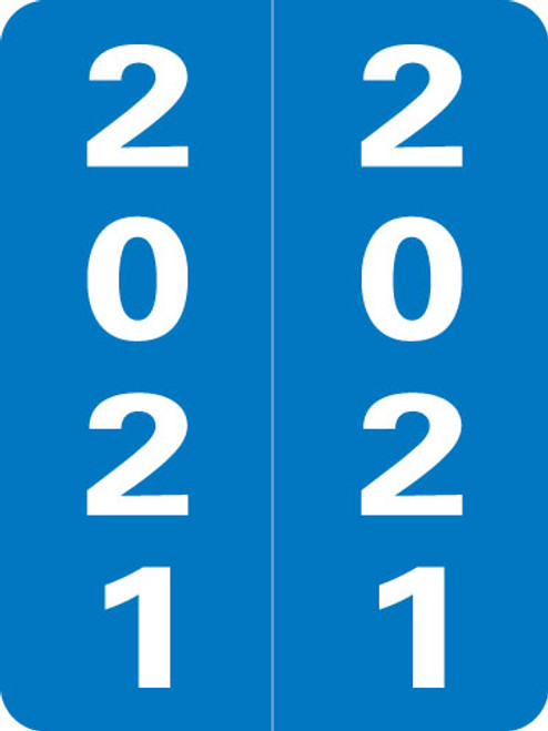 """Smead Yearband Label (Rolls of 500) - 2021 -BLUE - SLYM Series - Laminated - 2"""" H x 1-1/2"""" W"""
