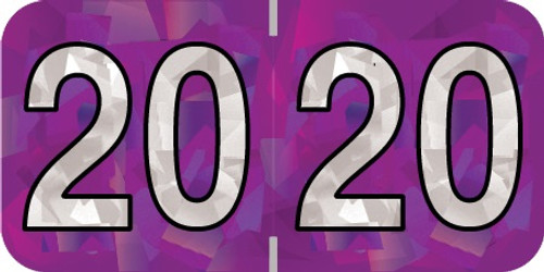 """Holographic 2020 PURPLE YEAR LABEL - 3/4"""" H x 1-1/2"""" W - 500/Roll"""