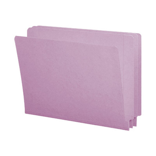 End Tab File Folder With Fasteners in Positions 5 & 7 - Lavender Color - Letter Size - 14 pt  stock- Reinforced Tab - Full End Tab - Box of 50