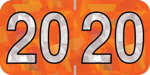 "2020 Holographic Yearband Label -  Orange - HOYM Series - Polylaminated -3/4"" H x 1-1/2"" W - 500/Roll"
