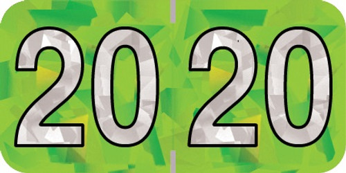 "2020 Holographic Yearband Label - Lime Green - HLYM Series - Polylaminated -3/4"" H x 1-1/2"" W - 500/Roll"