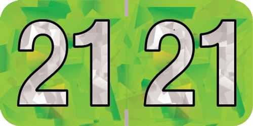 "2021 Holographic Yearband Label - Lime Green - HLYM Series - Polylaminated -3/4"" H x 1-1/2"" W - 500/Roll"