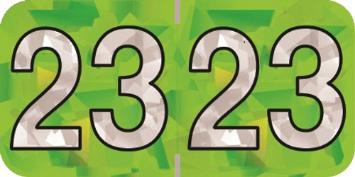 """2023 Holographic Yearband Label - Lime Green - HLYM Series - Polylaminated -3/4"""" H x 1-1/2"""" W - 500/Roll"""