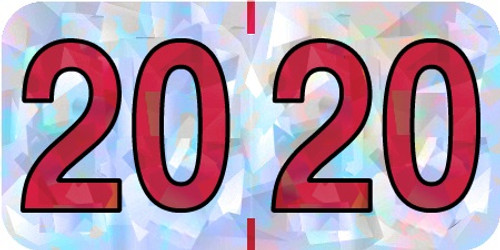 """2020 Holographic Yearband Label - Silver & Red - HSYM Series - 3/4"""" H x 1-1/2"""" W - 500/Roll"""