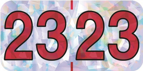 """2023 Holographic Yearband Label - Silver & Red - HSYM Series - 3/4"""" H x 1-1/2"""" W - 500/Roll"""