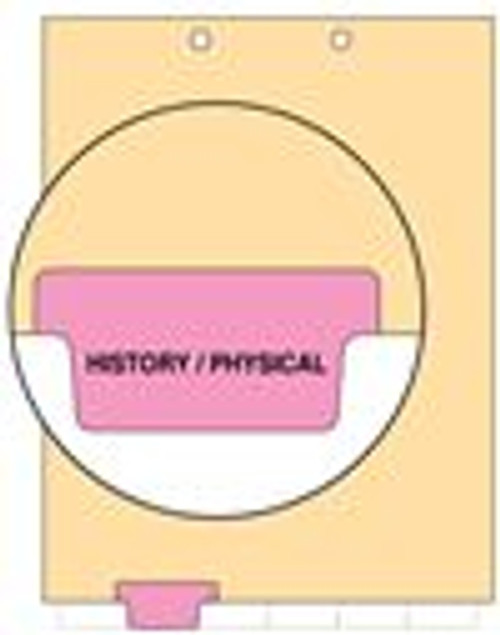 """History/Physical"" - Bottom Tab Chart Divider - Pink Tab in Position 2 - Manila - 100/Pack"