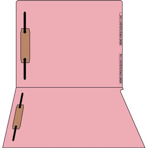 """PINK End/Top Tab Numeric Kardex Folders - Letter Size - 3/4"""" Expansion - With Fastener in Position 1 & 3  - Pink - 50/Box"""