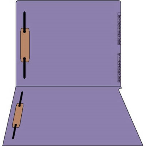 """Purple End/Top Tab Numeric Kardex Folders - Letter Size - 3/4"""" Expansion - With Fasteners in Positions 1 & 3 - 50/Box"""