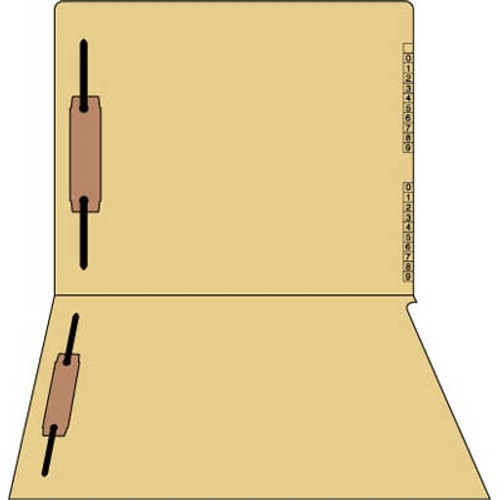 """Tan Colored End/Top Tab Numeric Kardex Folders - Letter Size - 3/4"""" Expansion - With Fasteners in Positions 1 & 3 - 50/Box"""
