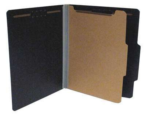 "Black Colored Top Tab Classification Folder with 1 Divider - Letter Size - 2"" Grey Tyvek Expansion -Fasteners in positions 1 & 3 - Duo fasteners on divider - 20/Box"