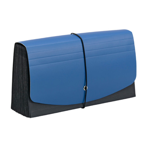 Handy File w/ Pockets for Checks, 21 Sections, 1/2-Cut Tab, Flap with Elastic Cord, Blue/Black - (70506)