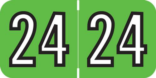 Barkley 2024 Yearband Label (Rolls of 500) -  Green - BAYM Series - Laminated