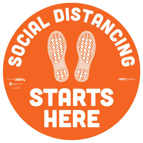 "29001 - BeSafe Messaging ""Social Distancing Starts Here"" Footprints Circle Vinyl Floor Decal - 6/Pkg - Size 12"" x 12"""