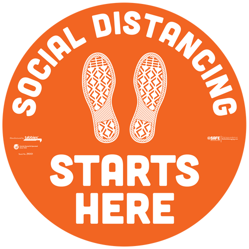 "29101 - BeSafe Messaging ""Social Distancing Starts Here"" Footprints Circle Vinyl Floor Decal - 60/Case - Size 12"" x 12"""