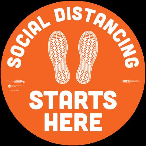 "29101 - BeSafe Messaging ""Social Distancing Starts Here"" Footprints Circle Vinyl Floor Decal - 60/Case - Size 12"" x 12"""