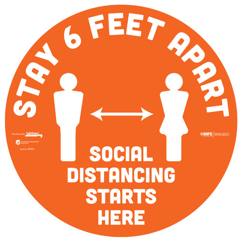 "29002 - BeSafe Messaging ""Stay 6 Feet Apart"" Social Distancing Circle Vinyl Floor Decal  - 6/Pkg - Size 12"" x 12"""