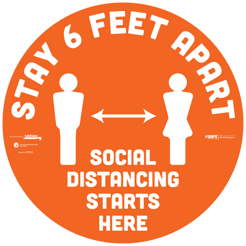 "29102 - BeSafe Messaging ""Stay 6 Feet Apart"" Social Distancing Circle Vinyl Floor Decal  - 60/Case - Size 12"" x 12"""