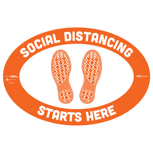 "29003 - BeSafe Messaging ""Social Distancing Starts Here"" Footprints Oval Vinyl Floor Decal - 6/Pkg - Size 18"" x 12"""